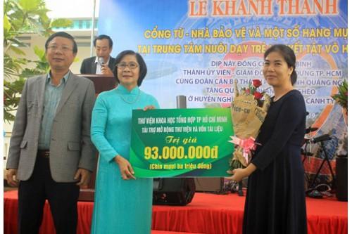 Thư viện Khoa Học Tổng Hợp TP.HCM  tài trợ mở rộng thư viện và vốn tài liệu tại Trung tâm Nuôi dạy trẻ khuyết tật Võ Hồng Sơn