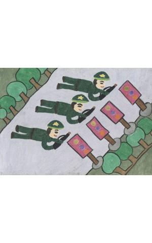 Các chú bộ đội tập bắn súng