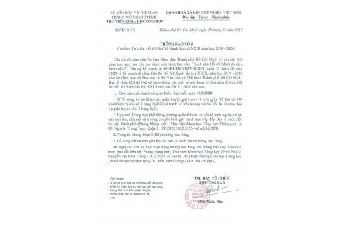 THÔNG BÁO SỐ 2 CỦA BAN TỔ CHỨC NÉT VẼ XANH LẦN THỨ XXIII NĂM HỌC 2019-2020
